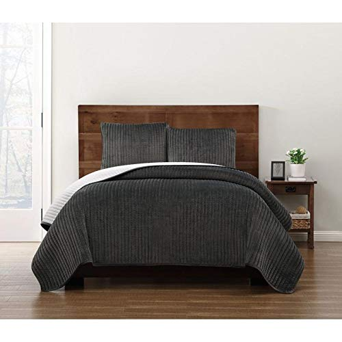 HNU 3 Piece Modern Crystal Face Pick Stitch Velvet Quilt Set Designer Style Solid Color Pattern Plush Grey King Bedding Set Outstanding Warmth Fashionable Bedroom Decor Amazingly Soft Pleated Finish