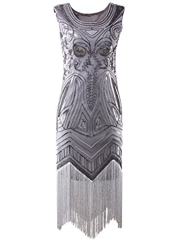 Vijiv Long Prom 1920's Vintage Gatsby Bead Sequin Art Nouveau Deco Flapper Dress,Silver ()