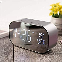 Led Alarm Clock with Fm Radio Wireless Bluetooth Speaker Support Aux Tf USB Music Player Wireless Office Bedroom