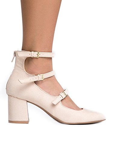 J. Adams 3 Strap Mary Jane Heel Pumps - Buckled Strappy Low Block Heel - Cute Ankle Party Heel - Mimosa by Nude Suede JSXqaH