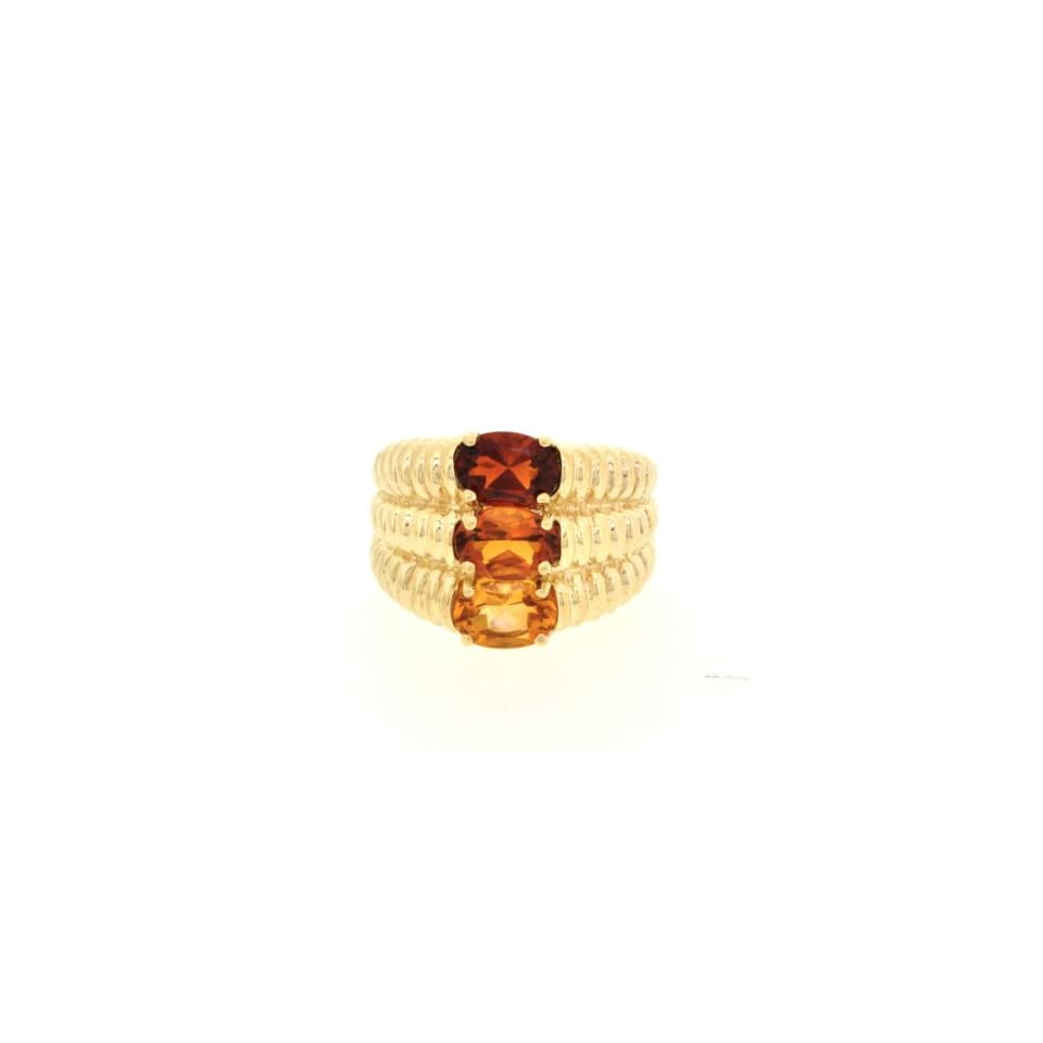 10K Yellow Gold Tricolor Topaz Ring