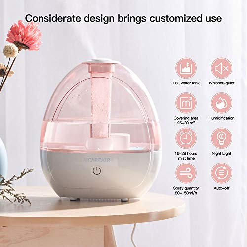 Cool Mist Humidifier-Humidifier for Baby Bedroom, Super Quiet Mist Humidifier with High Low Mist, Waterless Auto-off, Night Light, 2L Capacity, Filterless Humidifiers for home office, ETL Approved