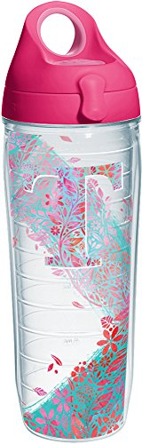 Tervis 1240103 INITIAL-T Botanical Insulated Tumbler with Wrap and Passion Pink Lid 24oz Water Bottle Clear