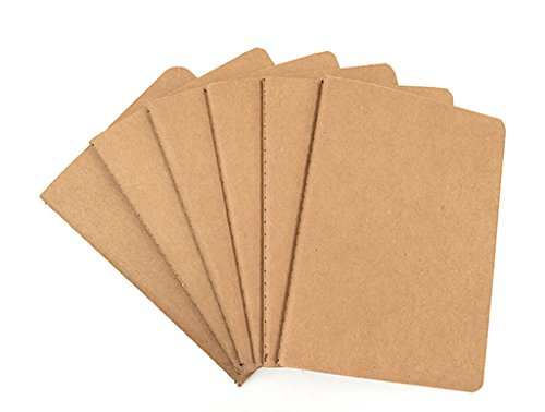 6pcs Travelers' Notebook Thread-bound Journal Diary Memo Pad,A6 Size & 30 sheets(Blank Pages)