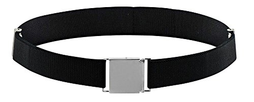 Belt for Kids and Toddlers Elastic Adjustable Strech Boys Belts With Silver Square Buckle (Black)