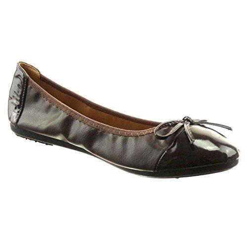 Sopily - Scarpe da Moda ballerina alla caviglia donna nodo verniciato Tacco a blocco 1 CM - Marrone