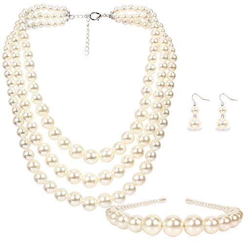 LuckyHouse Faux Pearl 3 Layer Bead Strand Necklace Jewelry White for Women Necklace Earrings Head Band Set]()