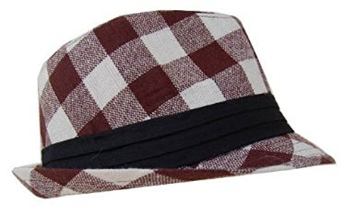 (New Plaid Checker Print Fedora Hats- (5 Colors Available), Brown/White)