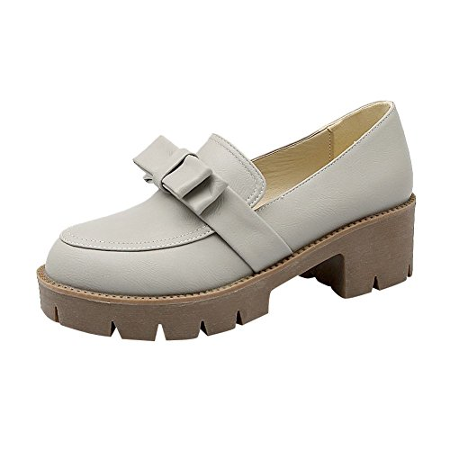 Carolbar Women's Sweet Cute Bow Platform Mid Heel Loafer Shoes Grey zoMrLCaEXy