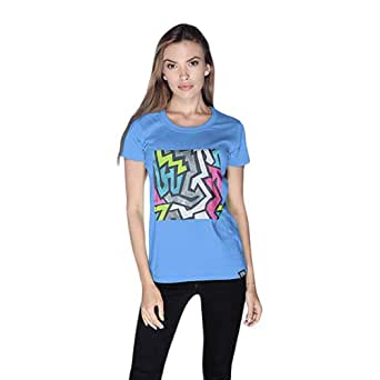 Creo Abstract 01 Retro Printed T-Shirt For Women - Xl, Blue