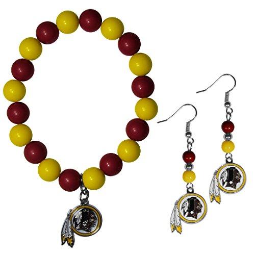 NFL Washington Redskins Fan Bead Earrings & Bracelet Set