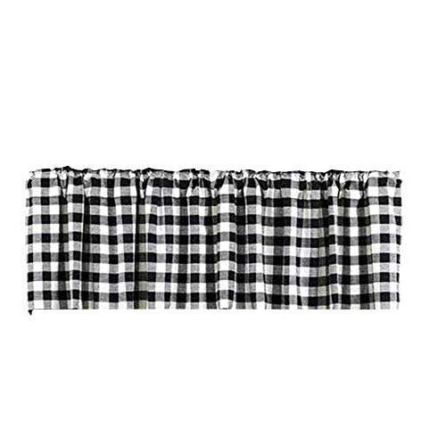 HTFD Black and White Courtyard Grommet Window Curtain Valance, Black, 53