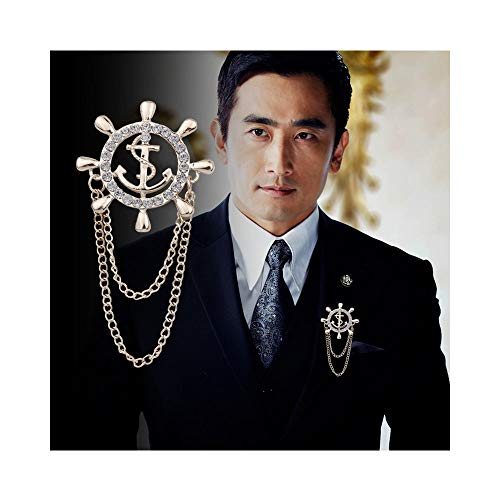 JczR.Y Rhinestone Anchor Rudder Brooch Pins Chain Fashion Navy Men's Suit Pin for Wedding Party Jewelry (Silver)]()