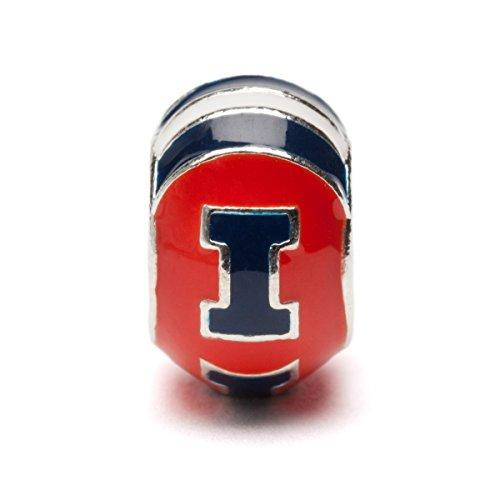 University of Illinois Charm | UIUC Fighting Illini - Orange with Blue Illinois I Charm | Officially Licensed University of Illinois Jewelry | UIUC Charms | Fighting Illini Logo | Stainless Steel