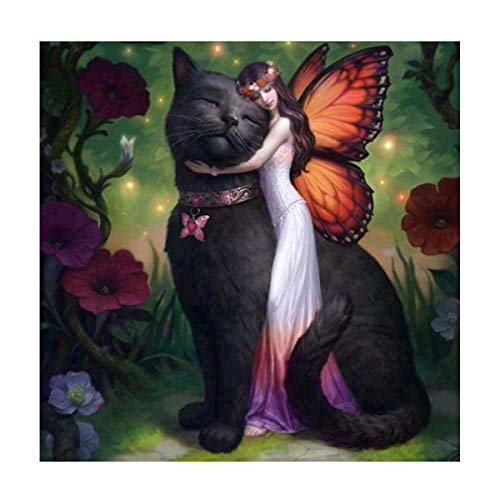 MXJSUA 5D DIY Diamond Painting by Number Kit Round Dril Beads Crystal Rhinestone Embroidery Cross Stitch Picture Supplies Arts Craft Wall Sticker Decor Black Cat Beauty 12x12In (Cat Cross Black Stitch)