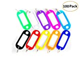 Yizeda 100 Packs Key Tags with Metal Ring, Sturdy Plastic Key Label, Key Label Window and Key ID Label Item Identifier - 10 Different Colors