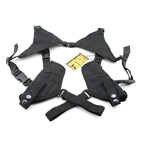 Depring Tactical Universal Double Draw Shoulder Holster Concealed Every Day Carry Dual Pistol Holster Pouch Fully Adjustable Ambidextrous Under Arm Horizontal Handgun Carrier Black