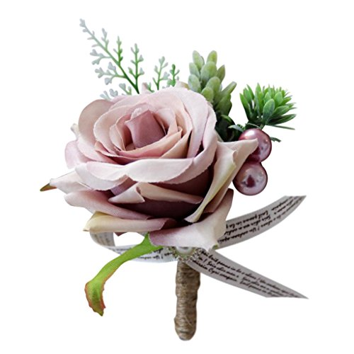 Baoblaze Fashion Artificial Wedding Prom Rose Flower Corsage Bridal Groom Family Corsage - Dusty Pink