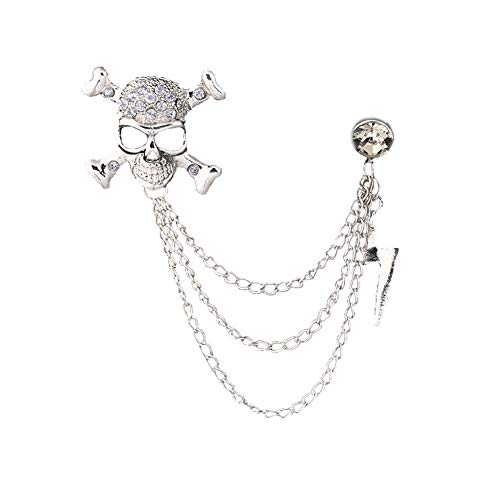 JczR.Y Vintage Skull Crossbone Rhinestone Brooch Retro Personality Crystal Lighting Chain Tassel Shirt Collar Suit Badge for Unisex Men - Crossbones Pin