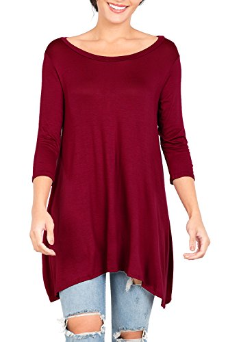 Love In T2411 3/4 Sleeve Round Neck Relaxed A-Line Tunic T Shirt Top Burgundy S by Love In (Image #8)