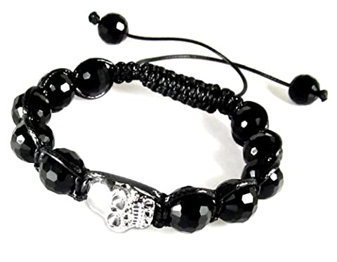 Skull Bead and Black Bead Adjustable Drawstring Bracelet - Crossbones Slide Charm