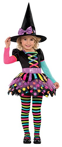 Cute Witch Costumes Women - Toddler Girls Miss Matched Cute Witch Costume (Large 12-14)