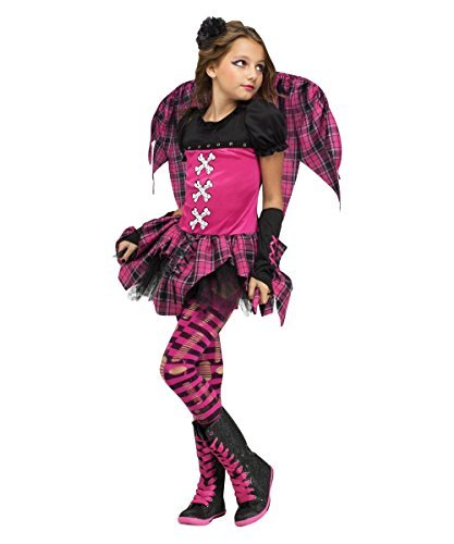 Girl's Size Small Hot Pink & Black Striped Plaid Punk Rock Fairy (Spirit Halloween Fairy Wings)