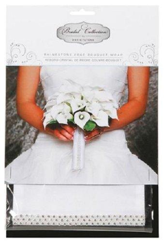 David Tutera White Satin Bouquet Wrap with Rhinestones Bouquet Wrap