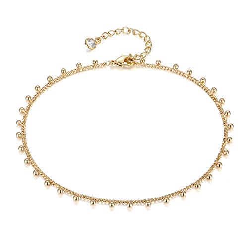 LOYATA Dainty Ankle Bracelet, 14K Gold Plated Beaded Anklet Cute Delicate Tassel Ankle Bracelet Bohemia Simple Chain Foot Jewelry Boho Ankle Bracelets for Women (Bead)