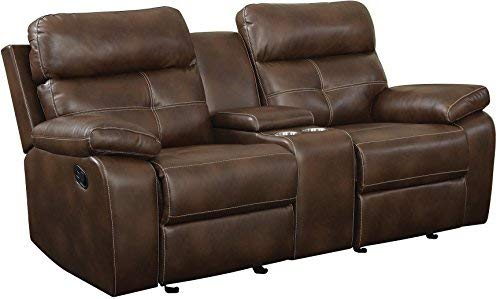 Coaster Home Furnishings Damiano Glider Loveseat with Button Tuft Detailing and Cupholder Storage Console Milk Chocolate