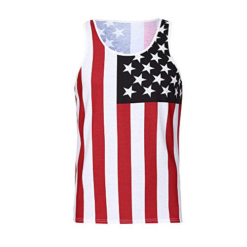 Tanhangguan Men's Casual American Flag Star Striped Print Slim Fit Tank Top Sleeveless Workout Tank Tops Funny T-Shirt