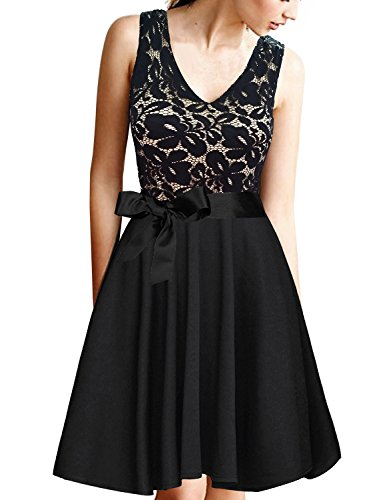 Dreaweet Women's A-Line V-Neck Pleated Sleeveless Cocktail Party Dress Floral Lace