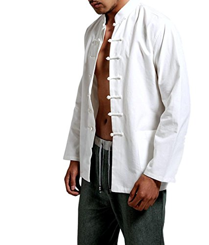 Asian Costumes For Men (Rekade Chinese clothes shirt [ for Men White ] Traditional Costumes Cosplay (3XL))