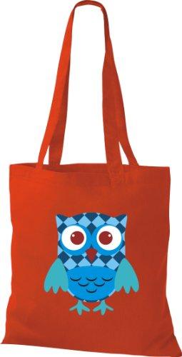 Stoffbeutel Bunte Eule niedliche Tragetasche mit Punkte Karos streifen Owl Retro diverse Farbe rot NAU9PST2A