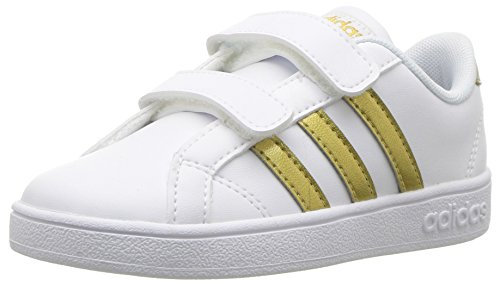 (adidas Boys' Baseline Cmf Inf Sneaker, White/Matte Gold/Black, 8.5 M US Infant)