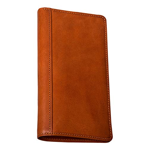 (CUSTOM PERSONALIZED INITIALS ENGRAVING Tony Perotti Mens Italian Cow Leather Bifold Checkbook Breast Pocket Wallet in Honey)