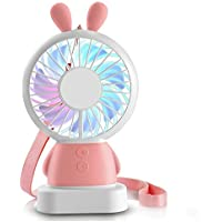 Portable Mini Fan, USB Rechargeable Small Fan with Colorful LED Lights and 2 Adjustable Speeds, Handheld Personal Fan with Stand and Necklace, Perfect for Indoor or Outdoor Activities(Pink Bunny)