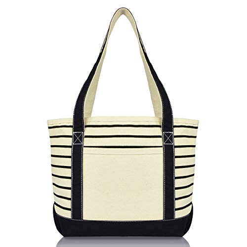 DALIX Small Stripe Tote Deluxe Shoulder Bag Cotton Canvas in Black