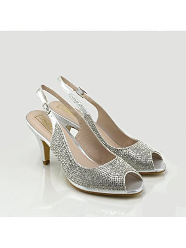 Footwear Di Moda Womens Argento Sposa Da Scarpe Kick Tacco Alto dRq0dw