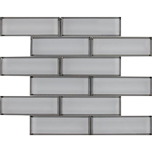 2' Glass Mosaic Tile - White Glass Mirror Beveled 2'' x 6'' Subway Tile Kitchen Backsplash Idea Bath Shower Wall Mosaics
