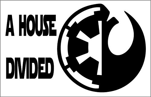 Jedi A House Divided 8x5 Inch High Quality Out Door Vinyl Decal For Laptop, Car, Window, Computer, ()