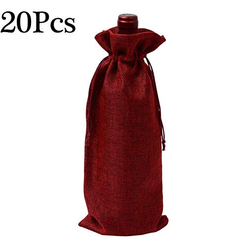 Jocab Jute Wine Bags Wraps 14 x 5.9 inches Nature Linen Jute Wine Bottle Gift Bags Package with Drawstring Hessian Pouches Perfect for Wedding Christmas (20Pack Wine Red)