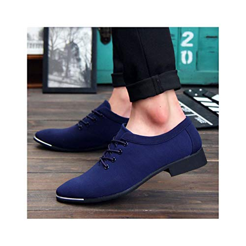 QQFLRB& New Men Formal Wedding Shoes Business Dress Shoes Loafers Pointed Toe Big Size Canvas Shoes Pointed Toe Casual Footwear Blue Men Shoes 7