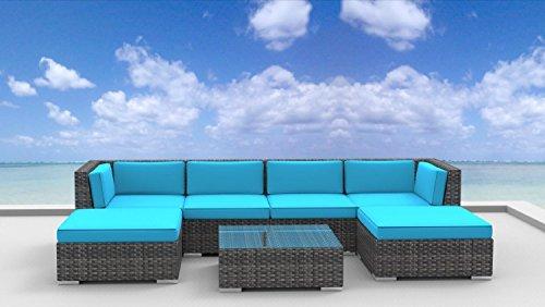 Urban Furnishing - MAUI 7pc Modern Outdoor Backyard Wicker Rattan Patio Furniture Sofa Sectional Couch Set - Sea Blue