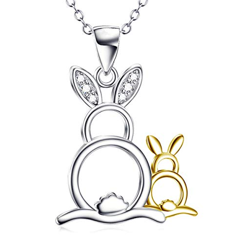 Price comparison product image Aola Mother and Child Rabbits Pendant Necklace Women Sterling Silver Cute Small Bunny Rabbit Crystal Jewelry
