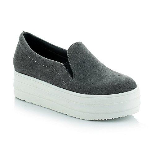 BalaMasa Ladies Platform Solid Slip-Resistant Urethane Walking Shoes Gray WwycGsd1