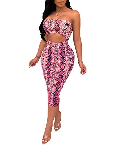 (Adogirl Womens Bodycon Tube Top Dress - Sexy Strapless Snakeskin Leopard Print Hollow Out Midi Dress Club Outfits Pink)