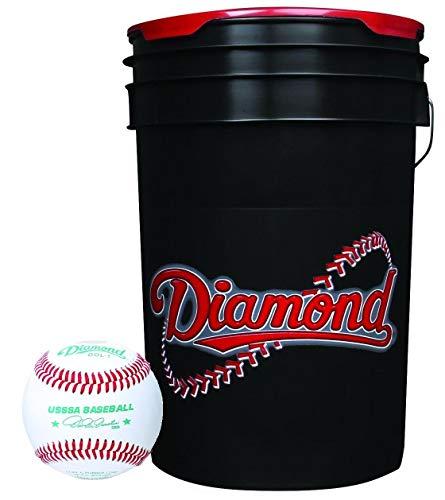 Diamond DOL-1 USSSA Baseballs (30 Total) with 6-Gall0n Cushion Lid Ball Bucket