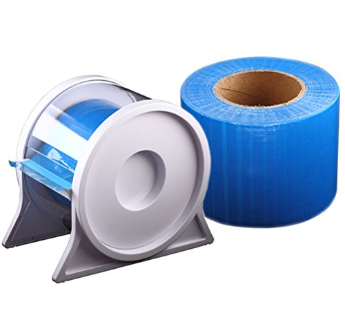 Barrier Film Roll Blue,4 x 6,1200 Sheets with Dispenser Box Plastic Stand Holder