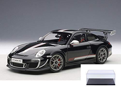 AUTOart Diecast Car & Display Case Package - Porsche 911 (997) GT3 RS 4.0, Black w/ Stripe 78146 - 1/18 Scale Diecast Model Toy Car w/Display Case